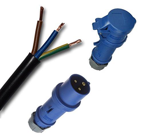 Individuele rubber verlengkabel rubberen kabel campingkabel H07RN-F 3G2,5 mm2 (zwart) + CEE stekker + koppeling/bus (blauw) 3-polig 230V / 16A / IP44 tot 150 M - Basisprijs kabel: 1,58 EUR/m 73 Meter Mantel Schwarz - Adern Farbig