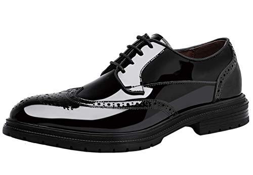 Zapatos de Cordones Brogue Hombre,Wing Derby Moda Charol Vestir Negocio Piel Plano Oxford Negro 42 EU