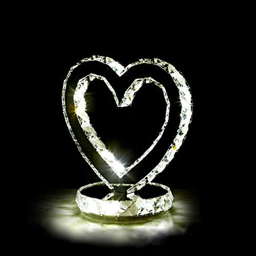 WSHFOR Kreative Mode LED kristall tischlampe herzform edelstahl nachttischlampe moderne stil einfache schlafzimmer wohnzimmer trendy kristall lampe doppelseitige (drei farbe lichtquelle) (Size : S)