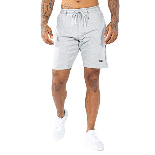 SMILODOX Herren Shorts 'Basic' | Kurze Hosen für Sport Fitness Gym Training & Freizeit | Jogginghose - Freizeithose - Trainingshose - Sweatpants Jogger - Sporthose Kurz, Farbe:Grau, Größe:L