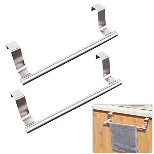 JINGYUANUS Toallero para gabinete, acero fuerte para cocina, gabinete, toallero, barra de barra para ajuste universal en interior o exterior de puertas de armario, paquete de 2