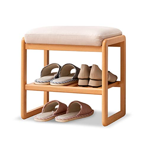 JYJ Banco de Rack de Zapatos de Madera Maciza con cojín de Asiento Acolchado, Estante de Almacenamiento de Zapatos de Zapatos de 2 Niveles para Dormitorio, Sala de Estar