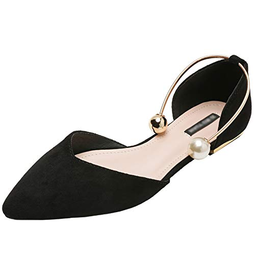 Jamron Mujer Dedo Punteado Terciopelo Bailarinas Elegante D'orsay Pumps Plano Zapatos de Vestir Negro SN02800 EU35