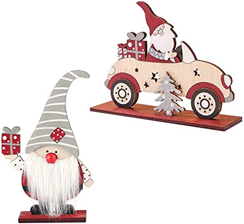 2 peças de enfeites de madeira decorações de madeira de natal DIY carro de madeira para mesa de escritório presentes de decoração de casa (cores sortidas)