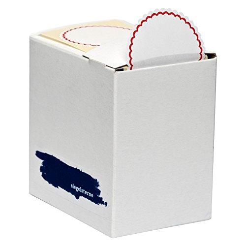 Siegelsterne selbstklebend Ø 53 mm weiß/rot Pack á 600 Stück Siegelmarken Sterne aus Papier