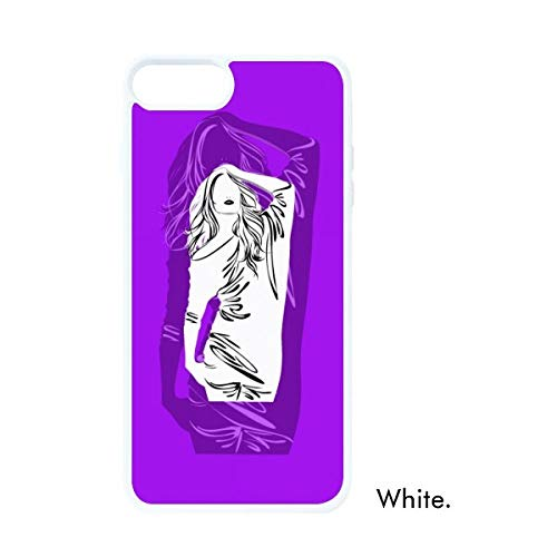 DIYthinker Paarse Pruik Lange Haar Vrouw Wit Phonecase Apple Cover Case Gift
