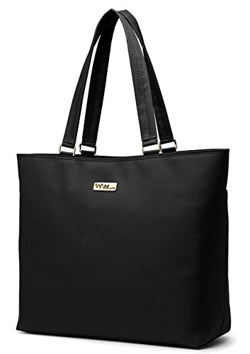 NNEE 15 15.6 Inch Water Resistance Nylon Laptop Tote Bag Computer Travel Carrying Bag - Black