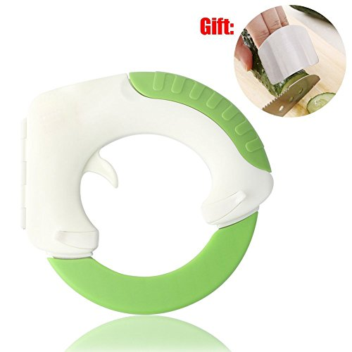 BOLO The Rolling Knife, Innovative Design of The Kitchen Circular Knife,Sharp Blade Cutting Vegetables, Meat, Cake So Easy, Can Well Protect Your Wrist -Gift: Hand Protection Appliance (1)