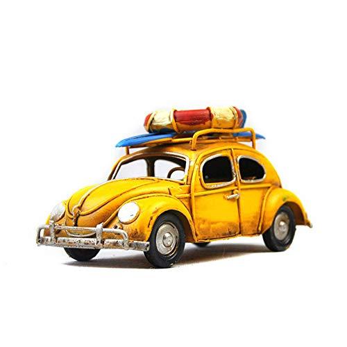 Vintage Retro Metall Modellauto Mini Käfer Modell Retro Klassisch Dekorative Collectible Fahrzeug Metall Kunst Geschenk Home Decoration Nostalgiespielzeug 15 * 6.5 * 7.5Cm,Gelb