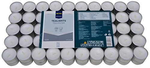 METRO Professional Teelichter weiß ohne Duft - 100 Stück Großpackung - 8 Stunden Brenndauer - aus Paraffinwachs - für Stövchen, Deko, Gastronomie, Outdoor, Party und Windgläser - 39 mm Durchmesser