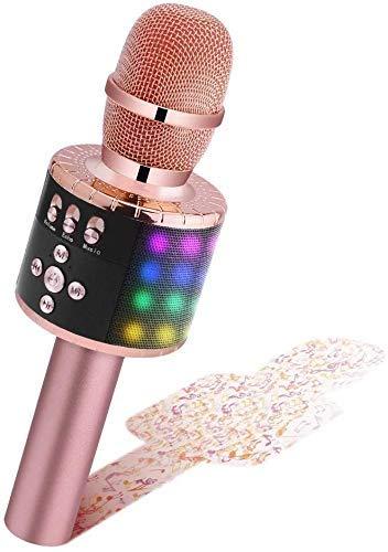 BONAOK Drahtloses Bluetooth-Karaoke-Mikrofon mit Steuerbaren LED-Leuchten, Tragbarer Karaoke-Maschinenlautsprecher Geburtstagsgeschenk Party-Reisespielzeug für iPhone, fur iPad,Android,PC (Roségold)