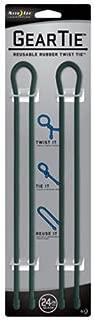 Nite Ize Gear Tie Reusable Rubber Twist Tie, 24-Inch, Forest Green, 2-pack