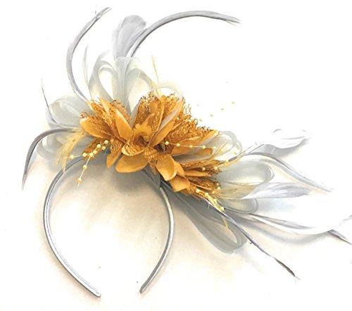 Tocado de plumas para el pelo, color gris plateado y amarillo mostaza, para bodas, carreras de Ascot Royal