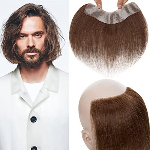 SEGO Toupee Uomo Capelli Veri 15cm Hair Topper Frontale con Frangia Protesi Remy Human Hair Lisci Indiani Misure 4cm*18cm Toupet 130% High Density 12g Marrone Cioccolato