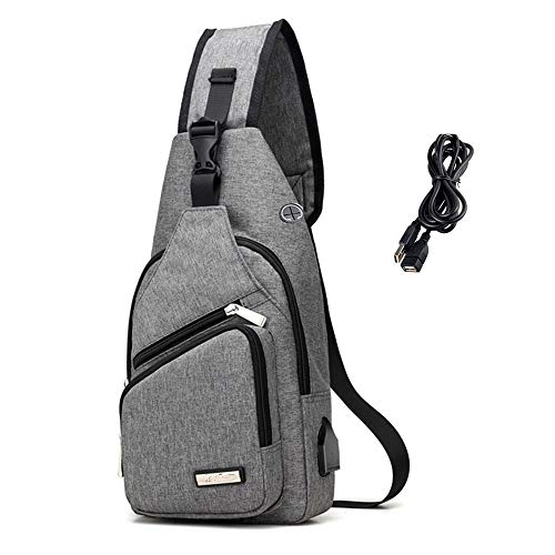 LIGHT RAIN Sling Bag with USB Charging Port Chest Shoulder Crossbody Bags Men Travel Pack Backpack for Sport Outdoor Gym Cycling Camping Hiking