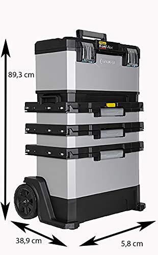 Stanley FatMax Rollende Werkstatt aus Metall-Kunststoff 1-95-622 – Werkzeugwagen leer – Vielseitige Werkzeugbox für Kleinteile und große Werkzeuge - 9