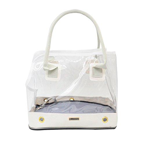 Transparent Hundetrage Tragetasche Hundebox Transporttasche Hunde Katzentragetasche Haustiertragetasche Handtasche Katzentasche Hundetragebeutel für Kleine Hunde Katzen Welpen (L, Weiß)