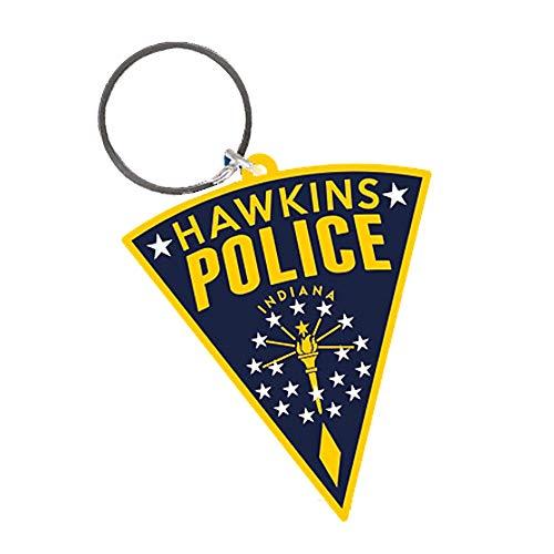 Pritties Accessories Echte fremde Dinge Hawkins Polizei Patch Gummi Schlüsselanhänger Schlüsselanhänger