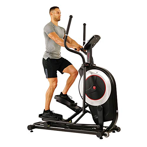 "Sunny Health & Fitness Electric Eliptical Trainer Elliptical Machine w/Devicec Holder, Programmable Monitor and Heart Rate Monitoring, 300 LB Max Weight and 20"""" Stride - SF-E3875, Black"