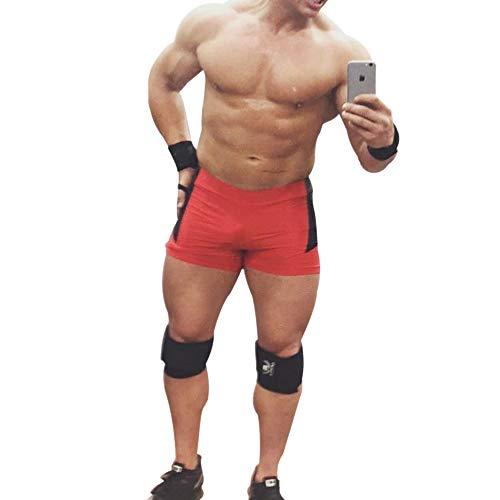 palglg Herren Bodybuilding Posing Trunks Spandex und Lycra Shorts -  Rot -  Medium :Taille 29.5'' - 33.5''