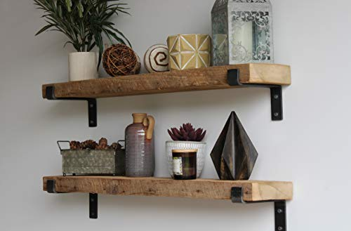 Urban Legacy Reclaimed Barnwood Accent Shelves - Set of Two - Metal Bracketed Wall Mount - Amish Handcrafted in Lancaster County, PA (Natural 48