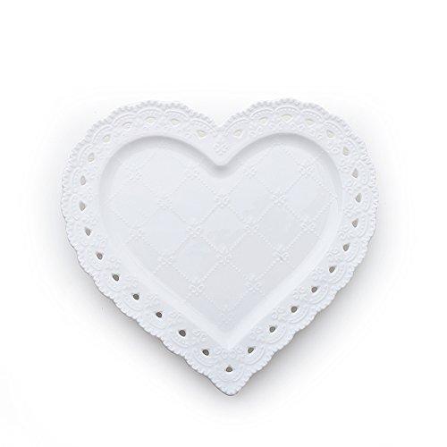 Hervit Assiette cœur en Porcelaine tressée Blanc 20 cm