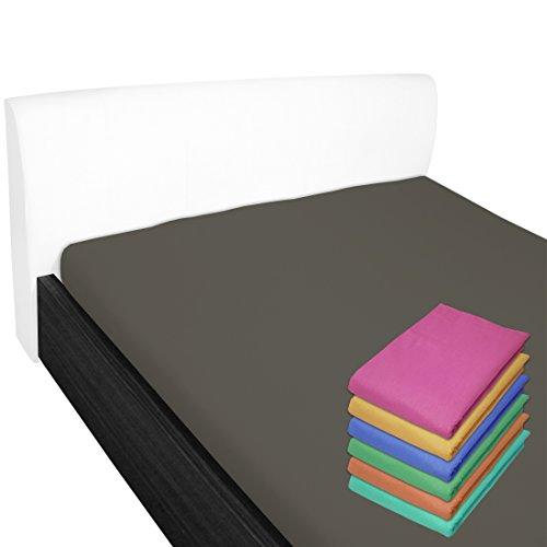 Nurtextil24 Bettlaken 100% Baumwolle 28 Farben und 4 Größen ohne Gummizug Anthrazit 150 x 240 cm