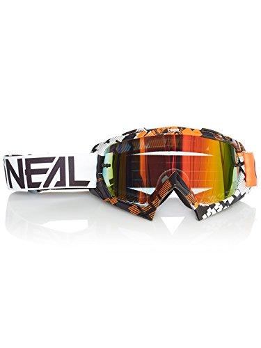 O'NEAL | Fahrrad- & Motocross-Brille | MX MTB DH FR Downhill Freeride | Hochwertige 1,2 mm-3D-Linse für ultimative Klarheit, UV-Schutz | B-10 Goggle | Erwachsene Unisex | Orange Weiß | One Size