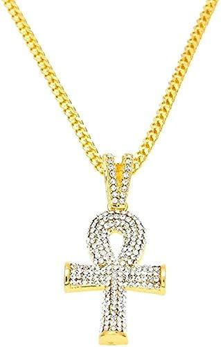 ZPPYMXGZ Co.,ltd Collar con Cruz Helada, joyería egipcia para Hombres, Color Dorado, la Cruz del Nilo, Collar con Colgante Vintage Dorado para Mujeres y Hombres, Regalos