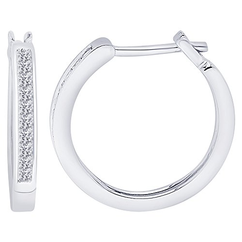 KATARINA Princess Cut Diamond Hoop Earrings in 14K White Gold (1/4 cttw (H-I, I2-I3)