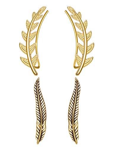 Sllaiss 2 Paare 925 Sterling Silber Ohr Crawler Manschette Ohrringe für Frauen Olive Blätter Climber Feder Crawler Ohrringe Antiken Stil Hypoallergen