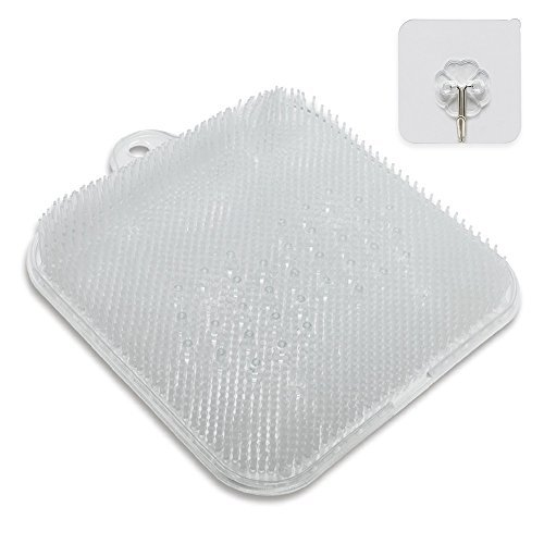Shower Foot Cleaner Scrubber Massager with Non-Slip Suction Cups and Firm Bristles Design, to Increase Circulation, Exfoliation, with Adhesive Hook (Clear, 9.5 x 9.5 Inches) (Clear)