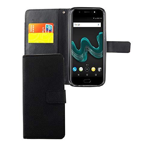 König Design Handyhülle Kompatibel mit Wiko Wim Handytasche Schutzhülle Tasche Flip Hülle mit Kreditkartenfächern - Onyx Schwarz