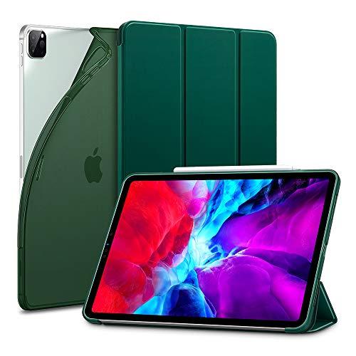 ESR para iPad Pro 12.9 Case 2020 e 2018, Smart Case Slim Bounce Auto Power Off [Modo Visualização/Gravação] [TPU Flexível Parte Traseira com Cobertura de Borracha] - Verde Pinheiro