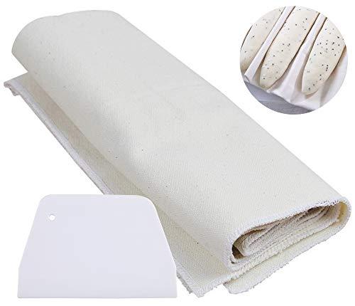 Leinentuch Brot Backen, Bäckerleinen Teigtuch, 100% unbehandeltes Natürliches Baumwollleinen für Baguette-Backbleche, Mit Teigschaber. (75x45cm)