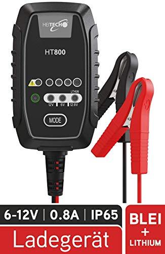 HEITECH KFZ Batterieladegerät 1,2Ah bis 26Ah Batterie - Erhaltungsladegerät für Motorradbatterie Rasenmäher Mofa Roller Moped Motorrad Quad - Ladegerät für 6V & 12V Blei sowie 12,8V Lithium