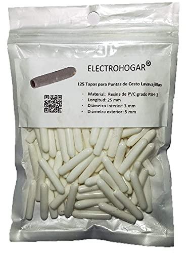 ELECTROHOGAR 125 Tapas para Cesto Lavavajillas – Nuevo Material, Color Blanco - Más Protección para las Puntas de la Bandeja - Todas las Marcas: Bosch, Electrolux, AEG, Balay, Teka, Zanussi, etc.