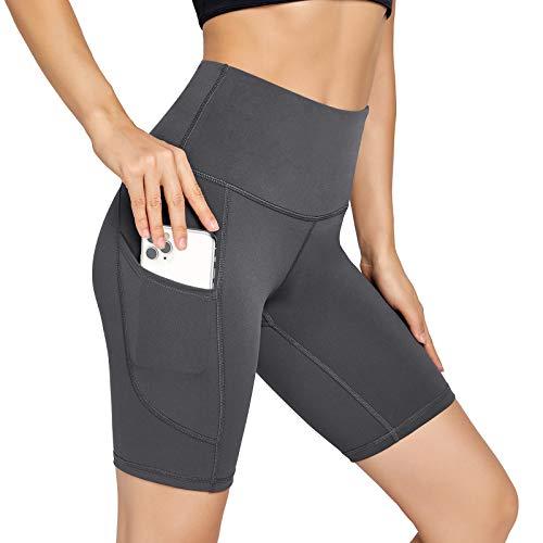UUE Women's Workout Compression Yoga Shorts Yoga Running Spandex Women Biker Shorts with Pockets-Gray