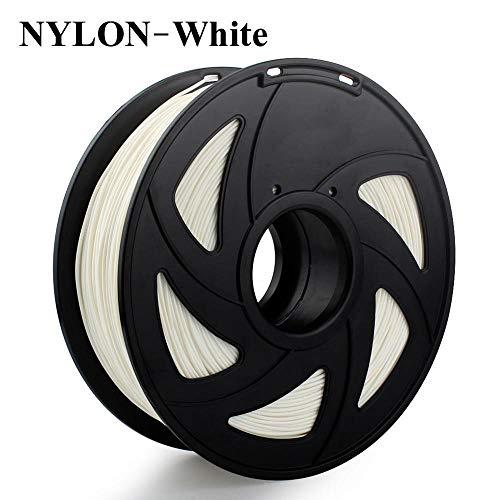 SDFW Exceptionnel 1 kg PLA ABS Nylon Bois TPU PETG Carbone ASA PP PC Plastique 3D Filament de Moscou 3D Printer Filament dureté (Color : Nylon White)