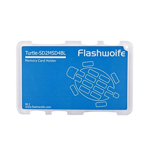 Flashwoife Turtle-SD2MSD4BL Estuche para Tarjeta de Memoria para 2X SD y 4 x Tarjetas de Memoria MicroSD Caja de Almacenamiento de Tarjeta de crédito - Transparente y Azul