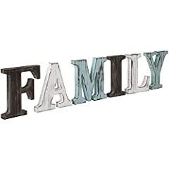 """Set of 6-inch wooden letters with distressed finishes spelling """"FAMILY"""" Mix of colors and distressed finishes create a stylish vintage-chic look for a variety of decors Thin 6-inch letters can be placed on mantels, bookshelves, or counters; individua..."""