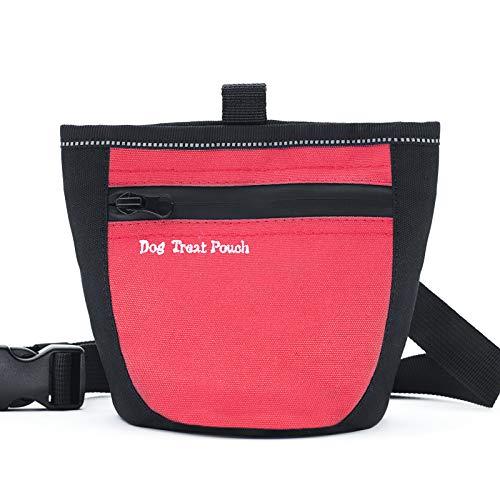 Aplusdeal Bolsa de Entrenamiento para Perros, Bolsa para Entrenamiento Portátil, Bolsa para Golosinas para Mascota, con cierre Magnético con correa de Cintura ajustable, Rojo
