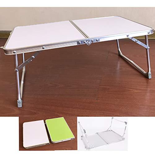 JAOSY Mesa de camping de aluminio, 60 cm, mesa plegable blanca con asa de transporte, duradera para exterior e interior