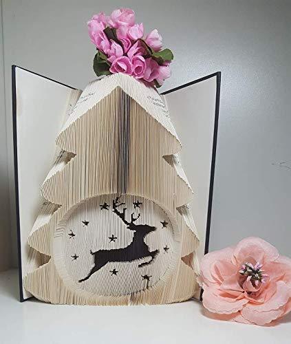 gefaltetes Buch,Weihnachtsdekoration, Weihnachtsbaum, Winter, Hirsch