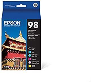 Epson 98 Black & Color C/M/Y/LC/LM Ink Cartridges, T098120-BCS, High Yield, Combo 6/Pack