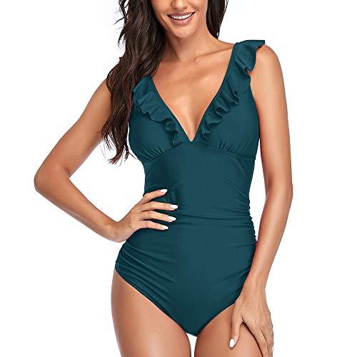 costume intero donna m Summer Mae Costume da Bagno Intero Donna Scollo a V Volant Controllo della Pancia Monokini Blu S