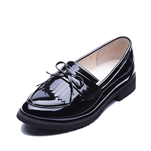 Mocasines de Mujer Borla británica Bowknot Color sólido Impermeable Costura Deslizamiento de Charol en Pisos Bajos Superiores Talla Grande 42 Zapatos de Oficina Femeninos