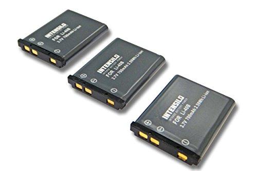 INTENSILO 3X Li-Ion batería 700mAh (3.7V) para cámara Olympus VR310, VR-310, VR320,...