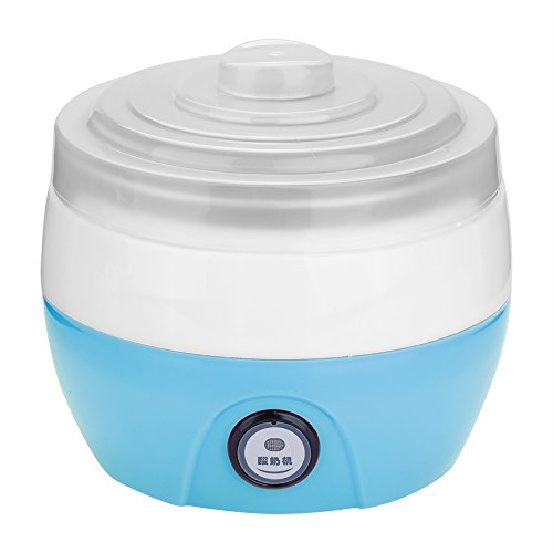 Fdit Yogurt Maker - Máquina eléctrica automática para uso doméstico de acero inoxidable, recipiente interior de 220 V, 1 L (azul)