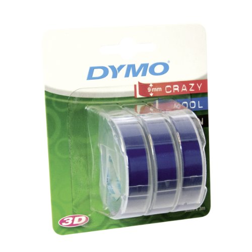 Dymo-Prägeetiketten (selbstklebend, 9 mm x 3 m) 3er Pack blau